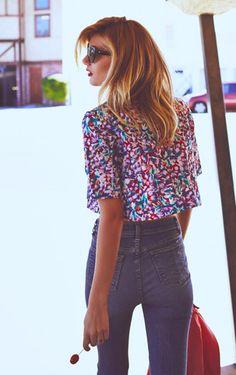 floral crop top + jeans