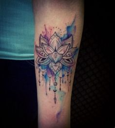 Simple flower watercolor tattoo