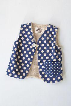 Corduroy and fur polka-dots vest. ADORABLE!