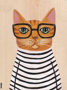 Hipster Stripes Original Cat Folk Art Painting by KilkennycatArt