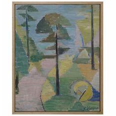 Oil on WoodPanel by ALF OSSIAN WAHLGREN, 1956 Wood Paneling, Solid Oak, Pencil Drawings, Modern Art, Oil, Artwork, Painting, Wooden Panelling, Work Of Art