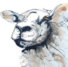 King Kevin Sheep - Free Range Farm Animal A3 Art Print, Pen and Ink Watercolour Painting, Cottage Kitchen Picture