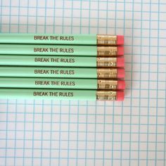 break+the+rules+pencil+pack+of+6+in+mint+by+thecarboncrusader,+$8.00