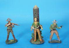 ELASTOLIN 3 Cowboys 7 cm um 1930 Masse 3026 | eBay