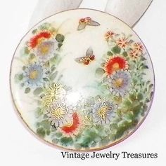 Antique Vintage Satsuma Button RARE Japanese Floral Butterfly Gold Signed