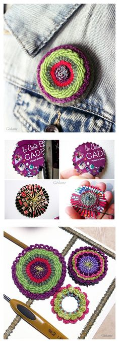 DIY - woven brooches with loyalty cards