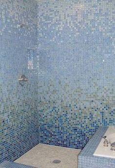Mosaic Tile Shower: Shimmering Blue Glass Mosaic Tile - like white ish blue/green better