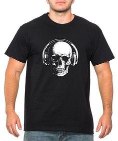 Black Skull & Headphones Crewneck Tee - Men's Regular