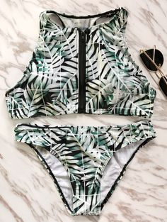 13fb39a64f957  19.99 Zip Front High Neck Bathing Suit - COLORMIX XL Cute Bikinis