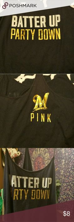Milwaukee Brewers tank Worn but lots of life left.  Milwaukee Brewers, Batter up Party down. Victoria's secret PINK. PINK Victoria's Secret Tops Tank Tops
