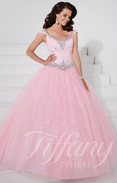 Make him blush when you choose Tiffany 61126 ball gown as your special dress! The corset back and princess cut tank sleeves add a classic touch to this sweet style. The bodice has a lace overlay and crystal detailing.