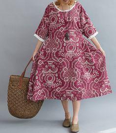 Blue Loose Oversize Dress/ Summer Linen large size Dresses