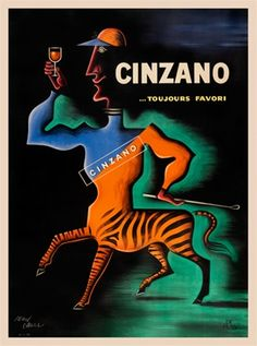 Cinzano poster by Jean Carlu 1950 France - Beautiful Vintage Poster Reproduction. This vertical French wine and spirit poster features half men and half zebra. Cinzano aperitif.  Giclee reproductions prints.