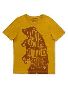 Ochre Pure Cotton Bear Print T-Shirt (5-14 Years)