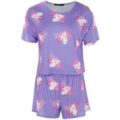 Boohoo Daisy Unicorn Short + Tee PJ Set | Boohoo ($14) ❤ liked on Polyvore featuring intimates, sleepwear, pajamas, short pajama set, short pyjamas, unicorn pyjamas, short pajamas and short sleepwear