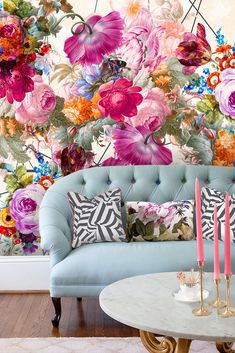 Bloom Boom Home Deco Bloom bold print wallpaper living room Boom Large Print Wallpaper, Wallpaper Wall, Bright Wallpaper, Disney Wallpaper, Wallpaper Quotes, Wallpaper Backgrounds, Living Room Decor, Bedroom Decor, Home Decor Inspiration