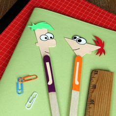 Create cartoon bookmark from ice cream stick.