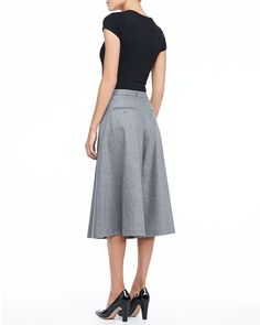 Michael Kors Wool Flannel Culotte Pants - Neiman Marcus  I am SO IN LOVE with these! I love them so much I would rip them apart and use them for a pattern for the rest of my life. Culottes that actually look good, flatter the figure and aren't trashy short are as rare as can be.