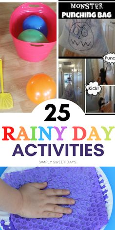 With 3 small children, on most rainy days I look like a crazy lady by noon so I made a list of 25 of my favorite things to do on a rainy day with kids. Rainy Day Activities For Kids, Party Activities, Summer Activities, Crafts For Boys, Crafts To Do, Sweet Days, Kids Schedule, Sweetest Day, Business For Kids