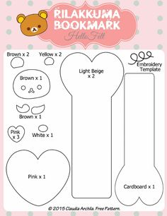 Free Tutorial and Pattern / Tutorial y Moldes gratis / Marcapáginas de Rilakkuma / Rilakkuma Bookmark