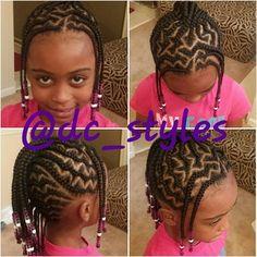 Chevron cornrow hairstyle on natural hair