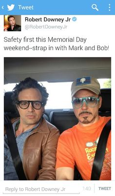 RDJ and Mark Ruffalo - these two photos are funnier as a pair.