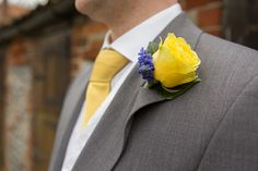 {Yellow Rose & Purple Muscari Hyacinth Boutonniere·························}