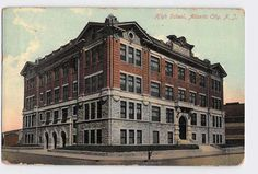 """Inv# 1374 Vintage Postcard High School Atlantic City, New Jersey, NJ 1909 Used with Stamp Wear on edges otherwise Complete and Good Condition This is a standard size 3.5"""" x 5.5"""" vintage postcard. Post"""