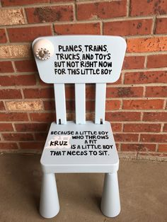 Personalized Boy's Planes, Trains, Trucks, Toys Time Out Chair with Timer