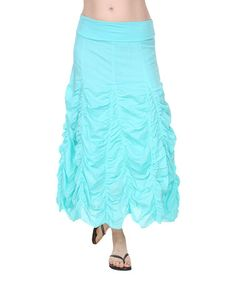 Another great find on #zulily! Aqua Ruched Maxi Skirt by Ananda's Collection #zulilyfinds