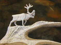 Bull Caribou - moose antler www.antlerstoart.com