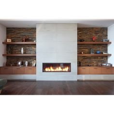 modern-fireplace-with-shelves.jpg (JPEG Image, 1024×682 pixels) -... ❤ liked on Polyvore