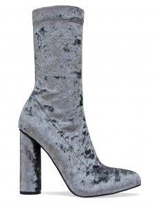 Estelle Grey Velvet Block Heel Ankle Boots