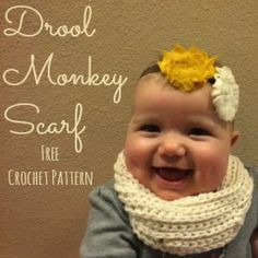 The Drool Monkey Scarf - a free crochet pattern for a baby scarf that doubles as a bib!