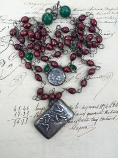 Reserved for A  MISTLETOE and HOLLY  Triple Strand by DRAMAJEWELRY