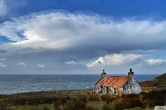 A room with a view.-A room with a view. An old croft house near Melvaig in Scotland - Places To Travel, Places To See, Scottish Cottages, Cottages By The Sea, Little White House, Irish Cottage, Bothy, Scotland Castles, Landscape Paintings
