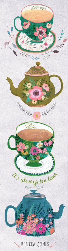 Vintage Illustration It's always time for tea in my house. I blame it on being English, I drink a LOT of tea. And I love nothing more than buying new tea cups and teapots. I've been really busy these last few months, l. Art And Illustration, Illustrations And Posters, Vintage Illustrations, Kirchen Design, Doodles, Tea Art, Arte Popular, My Tea, Oeuvre D'art