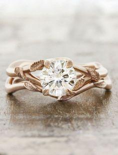 leaf prong organic shaped diamond engagement ring, rose gold