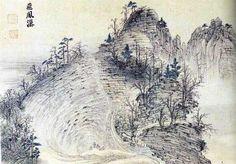 (Korea) Bibong falls in Mt Geumgang, 1788 금강4군첩 by Kim Hong-do (1745- 1806). color on paper.