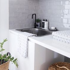 LOVE the tile Moncrieff residence - Studio Black. Hand made subway tiles in a soft grey paired with a Quartz engineered stone benchtop, matte black tap and crisp white joinery. Modern Laundry Rooms, Laundry In Bathroom, Bathroom Grey, Bathroom Subway Tiles, Grey Subway Tiles, Grey Tiles, Kitchen Decor, Kitchen Design, Laundry Room Inspiration