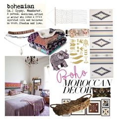 """""""Decor"""" by lseed87 ❤ liked on Polyvore featuring interior, interiors, interior design, home, home decor, interior decorating, Boho Boutique, Wet Seal, Boho & Co and PTM Images"""