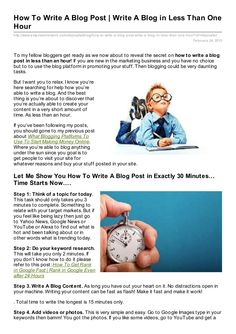 tips on how to write a blog post in less than an hour