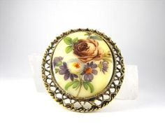 Vintage Brooch Painted Porcelaine Transferware by VJSEJewelsofhope, $12.00