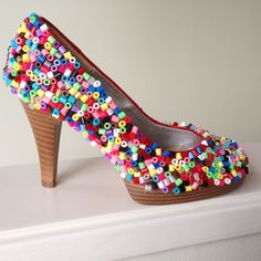 Redesign - Party shoe hama perler beads by perletid Fuse Bead Patterns, Beading Patterns, Bead Crafts, Jewelry Crafts, Hama Art, 8bit Art, Diy Perler Beads, Beaded Boxes, Fuse Beads