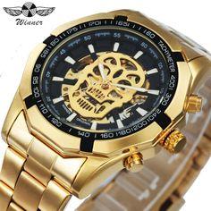 86be6e80a6d Nova Moda Mecânica Crânio de Ouro de Aço Inoxidável. OuroMen s Watches Relógios De LuxoRelógios Para HomensRelógios Masculino ...
