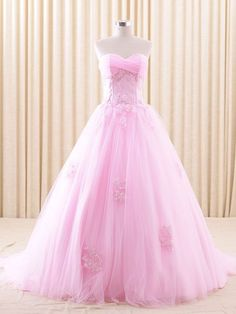 Strapless Pink Lace Ball Gown Wedding Dress