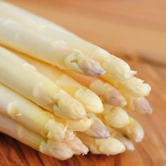 "White asparagus, ""the king of vegetables"" is available from April to June.  It's white since it's grown underground out of the sun.  It has a sweet flavour and is more tender than the green asparagus."