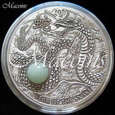 SNAKE GREEN AVENTURINE Quartz Chinese Lunar Year 1 Oz Silver Coin 10$ Fiji 2013