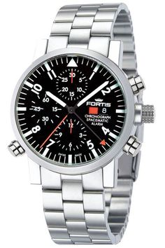 Men watches : Fortis 627.22.31 M Men's Spacematic Alarm Chronograph Black Dial Watch