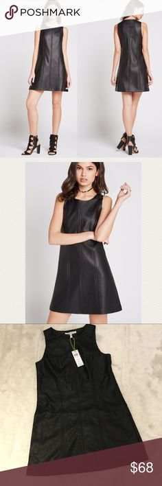 NWT BCBGeneration Faux Leather A-Line Dress A faux leather little black dress by BCBGeneration.  Tonal seams throughout.  Snap button closures at shoulders.  Self: face- 100% polyurethane, back- 100% viscose; Lining: 100% acetate. BCBGeneration Dresses